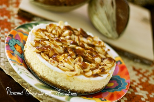 Caramel Cheesecake with almond nuts