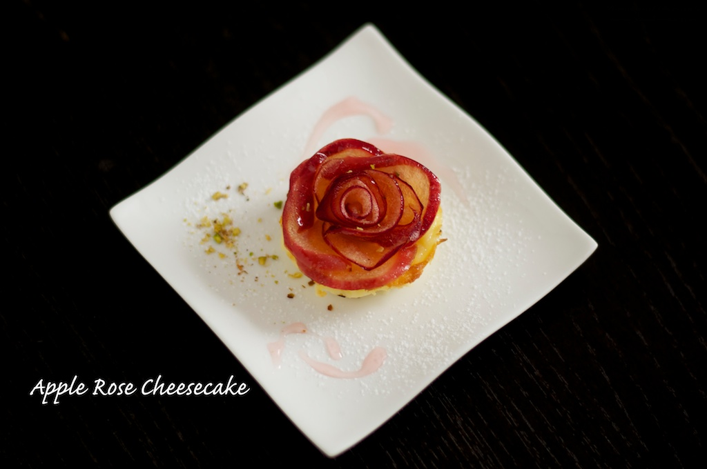 Mini apple rose cheesecake
